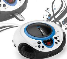 Tragbarer CD-Player MP3 USB Anschluss Radio Tuner AUX LED mobil Kinder blau
