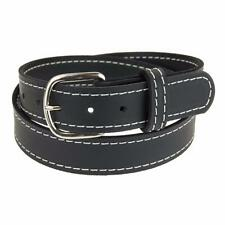 """NP142_Buffalo Leather Stitched Belt_1 1/2""""_Nickel Finish Buckle_Amish Handmade"""