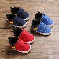 UK Cute Newborn Baby Boy Girl Crib Shoes Canvas Soft Sole Pram Anti-slip Sneaker