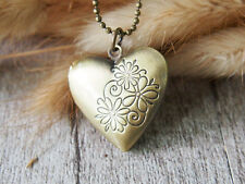 Brass Picture Locket Pendant Necklace Heart Love Handmade Necklace