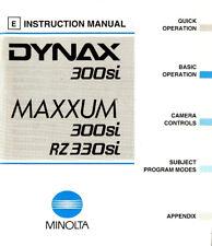 MINOLTA DYNAX 300si & MAXXUM 300si/RZ330si SLR 35mm CAMERA INSTRUCTION MANUAL
