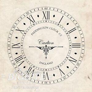 WATER DECAL: Paddington Old Clock Face Handless (DIY Print Transfer) #068