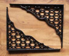 """Par De 8"""" X 10"""" soportes de Estante De Hierro Fundido Grande Victoriano Antiguo Pesado Negro"""