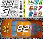 WHITE  (#3's) Racing Numbers Decal Sticker Sheet 1/8 - 1/10 -1/12 RC Tamiya