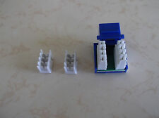 10 Pack Lot - CAT5e RJ45 110 Punch Down Keystone Modular Snap-In Jacks - BLUE