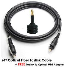 Digital Audio Optical Fiber Optic Toslink Cable +Toslink to Optical Mini Adapter