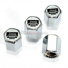 (4) Jeep Silver Grille Logo Chrome ABS Tire/Wheel Air Stem Valve CAPS Covers