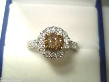 1.66 Carat Champagne Brown Diamond Engagement Ring 14K White Gold Certified