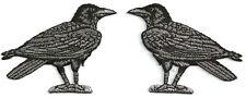 Raven - Crow - Bird - Corvus - Embroidered Black/Gray Iron On Patch - Set Of 2
