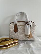 Michael Kors Hayes Small MK Signature Duffle Satchel Crossbody Bag in Vanilla