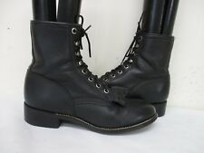 JUSTIN Black Leather Kiltie Lace Roper Cowboy Boots Youth Size 3.5 D Style 506Y
