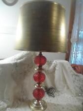 ANTQ Ruby Red Quilted Diamond Consolidated Glass Boudoir Parlor Lamp /Gold Shade