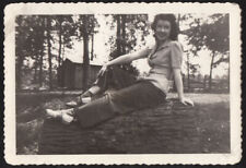 SCRUMPTIOUS SWEETHEART SADDLE SHOES WOMAN LOG PINUP POSE ~ 1940s VINTAGE PHOTO