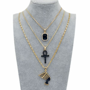 Queen Nefertiti, Ankh Cross, Black Crystal Pendants Necklace Gold Plated Layered