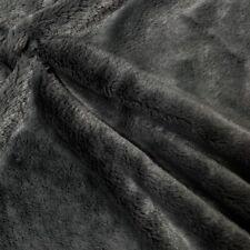 "Faux Fur Fabric Short Pile 60"" wide Sold By The Yard Shag Rabbit Dark Grey"