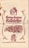 Vintage GERMAN-AMERICAN RATHSKELLER Restaurant Menu New York 1966