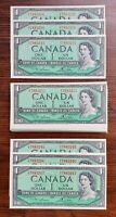40 x Sequential 1954 $1 Bank of Canada Notes - Lawson Bouey - CH-UNC