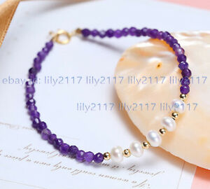 Faceted 4mm Round Amethyst Gemstone Beads 4-5mm White Pearl Bracelet 7.5'' AA