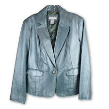 Worthington Womens Blue Pearlized Genuine Leather Jacket Blazer Sz Large Lined