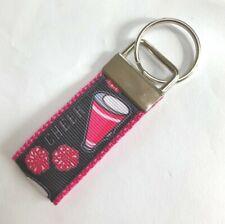 Cheerleading Mini Key Chain Ribbon Key Fob Handmade, Backpack Dangle Zipper Pull