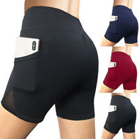 Womens Ladies High Waist Yoga Sports Shorts Pocket Running Gym Workout Hot Pants