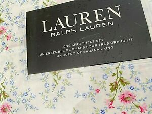 NEW RALPH LAUREN White Blue Flowers King KING Sheet Set 100% Cotton Extra Deep