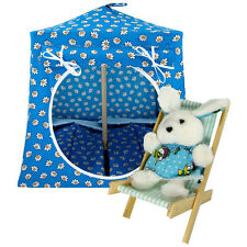 Aqua, daisy print Toy Play Pop Up Tent, 2 Sleeping Bags for stuffed animals, etc