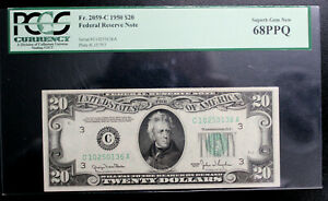 Fr 2059-C 1950 $20 Federal Reserve Note - PCGS Currency SUPERB Gem New 68 PPQ