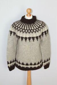 True Vintage Grey Brown Handmade Alpaca Jumper Nordic Scandinavian Size S M 70s