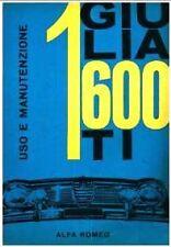 Alfa Romeo GIULIA  1600  -  manuale uso e manutenzione – DRIVER'S  HANDBOOK!!!