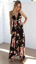 UK Women Plunge Strappy Holiday Ladies Summer Paisley Split Maxi Dress Size 6-16