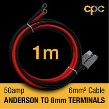 50A Anderson Plug type Battery Ring 1m Terminal Cable lead AMP Lug 12v 4x4 solar