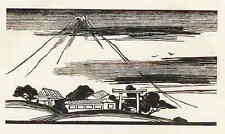 El fujiyama en japón-Louis Callaud-original corte de madera 1926
