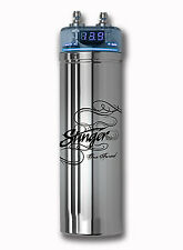 1 farad car audio capacitors brand new stinger 1 farad capacitor w blue digital voltmeter chrome spc122 car