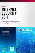 NEW! McAfee Internet Security 3PCs 2014 - Free Upgrade to 2018 - 3 PCs
