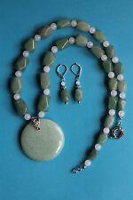 Excellent! Natural ADVENTURINE Round Pendant Necklace Set