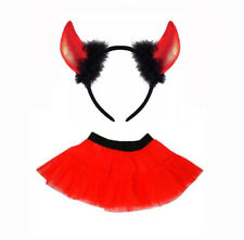 Red Tutu & Devil Horns on Headband With Black Fur Halloween Hen Fancy Dress