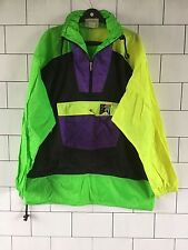 VINTAGE RETRO 80'S BRIGHT CRAZY BOLD OVERHEAD RAINCOAT WINDBREAKER XXL #114