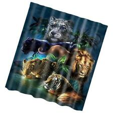 Extra Long Fabric Bath Shower Curtain Sheer With 12 Hooks Ring Wild Animals