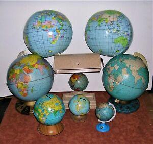 Collection of Vintage Chein & Ohio Art Globes, Globe Desk Lamp, Banks, Sharpener