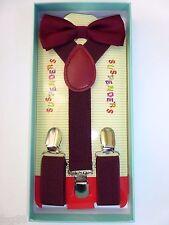 New Baby Toddler Kids Child Burgundy Suspenders Bow Tie Gift Box Set USA SELLER