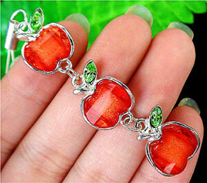 17x14x5mm Red Lampwork Glass Apple Pendant Cell Phone Accessories Chain BV3979