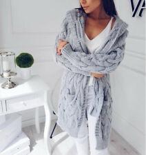 Strickjacke Damen Pullover Strickmantel Pulli Kapuze Taschen Neu