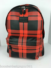 COACH F71821 Campus Laptop Backpack Book Bag Leather Red Black Print NWT