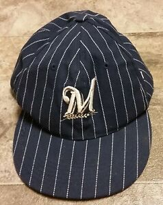 Vintage Milwaukee Brewers MLB  Baseball Pinstripe Blue Cap Hat Size 7 1/2 Large