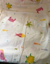 Pottery Barn Kids Turtle Fish Seahorse FULL SIZE FLAT SHEET 100% Cotton