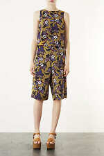 TOPSHOP OCHRE KHAKI FLORAL HIBISCUS PRINTED BLOUSE TOP 8 36 4!