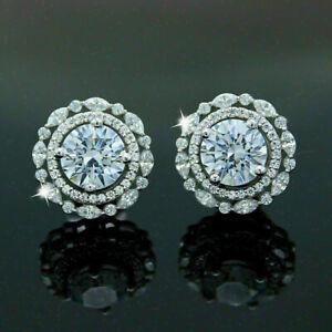 Modern & Sleek Engagement & Wedding Stud Earrings 14k White Gold 2.01 Ct Diamond