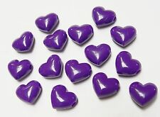 Plum Purple Large 18mm Hearts Pony Beads 25pc made USA for kids crafts school
