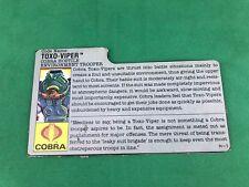 1988 Toxo Viper v.1 FILE CARD gray filecard bio original GI/G.I. Joe Cobra JTC